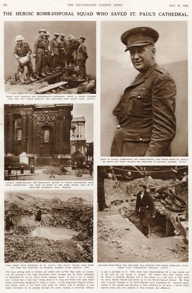 Page from the Illustrated London News describing the heroism of Lieutenant Robert Davies(1900-1975), who received the George Cross for commanding the bomb disposal unit which saved St
