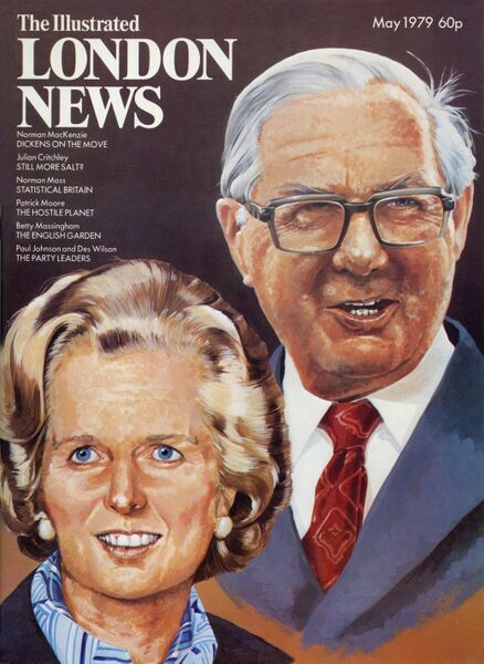 Front cover of the Illustrated London News, May 1979 featuring portraits of James Callaghan, Labour leader and incumbent Prime Minister and Tory Party Leader, Margaret Thatcher, just prior to Thatcher's historical election victory leading