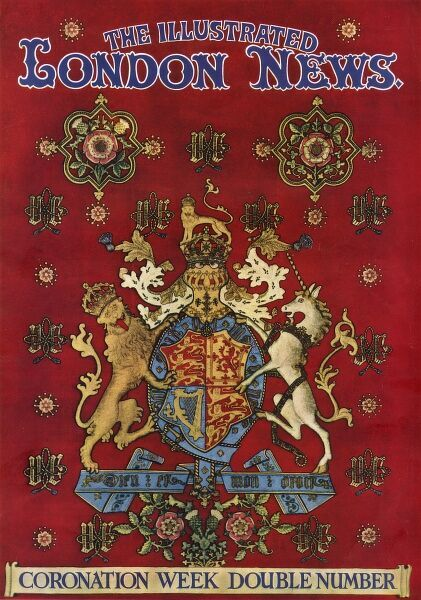 Front cover of The Illustrated London News celebrating the coronation of Queen Elizabeth II and featuring the Queen's coat of arms and other heraldic symbols. Date: 1953