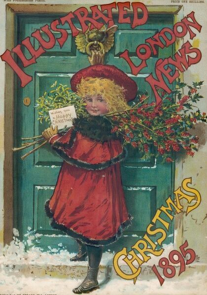 Girl with holly leaves and mistletoe about to knock at a front door