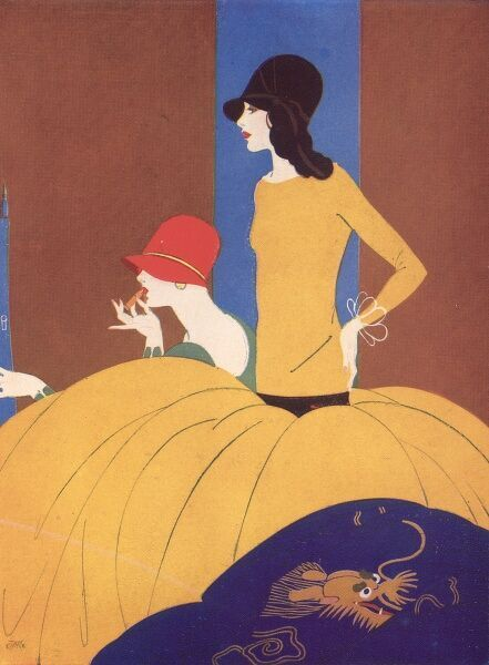 Art deco style colour illustration from a Celanese advertisement, showing two elegant women looking in a mirror