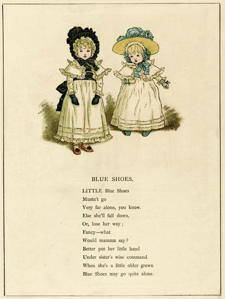 Illustration, Blue Shoes, showing two little sisters in white dresses. 1885