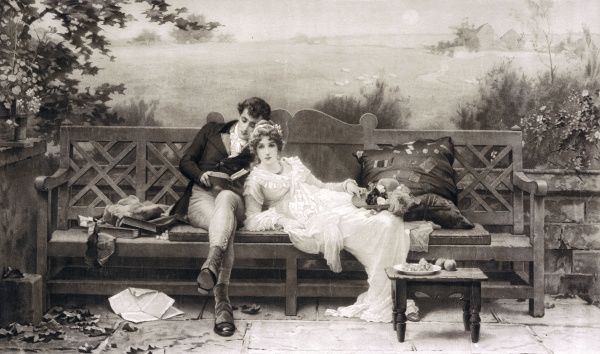 A scene by Marcus Stone (1840-1921) of a young Regency couple relaxing together on a summer's evening