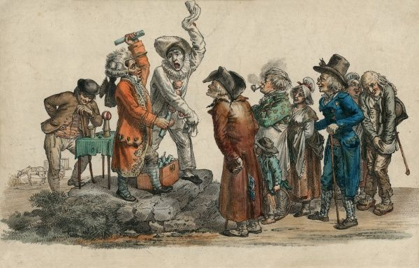 Coloured illustration of a French conjuror and clown with crowd, circa 1800. HPG/8/2/1 (iv)