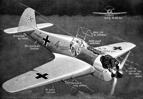 Illustration showing a German Focke-Wulf 190 fighter airplane, with cutaways of the engine and machine-guns, August 1942. This image showed some of the features of the latest FW190 captured by British forces