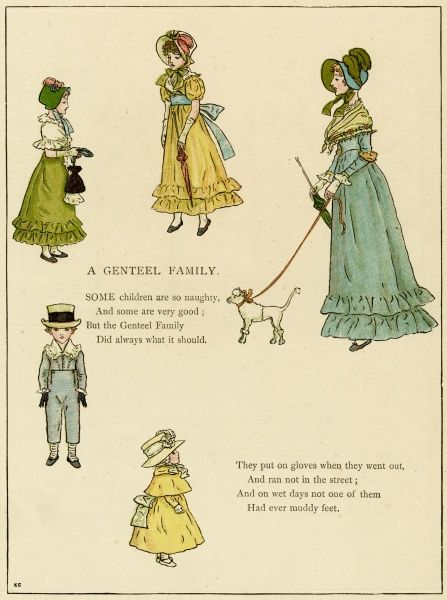 Illustration, A Genteel Family, showing a mother, her pet poodle and her four children, looking very well-behaved.  1885