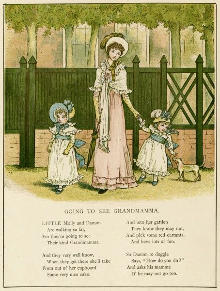 Illustration, Going to See Grandmamma, showing a young mother taking two little girls to visit their grandmother.  1885