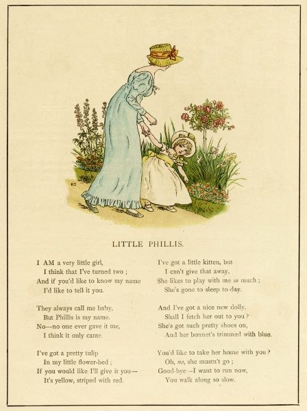 Illustration, Little Phillis, showing a young mother in a blue dress holding her toddler's hand in a garden.  1885
