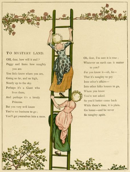 Illustration, To Mystery Land, showing two girls climbing a ladder to who knows where.  1885