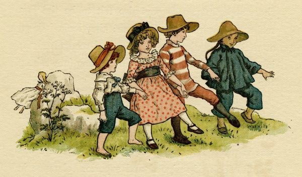 Illustration, The Queen of the Pirate Isle, showing four children (Polly, Hickory, Wan Lee and Patsey) walking along hand in hand.  1886