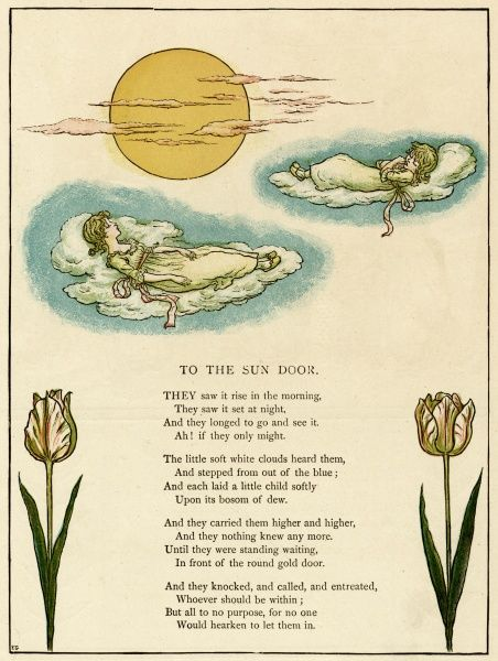 Illustration, To the Sun Door, showing two little girls sleeping on clouds near a bright yellow sun.  1885