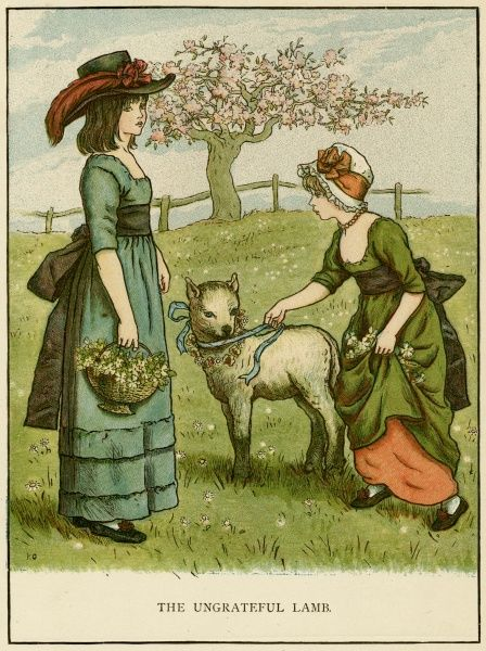 Illustration, The Ungrateful Lamb, showing two girls with a pet lamb in a grassy field.  1885