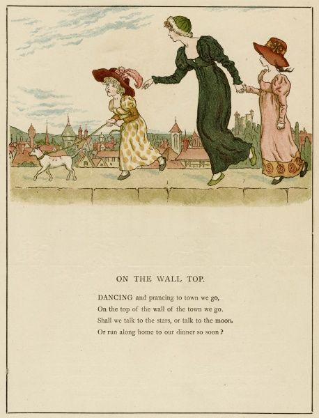 Illustration, On the Wall Top, showing a young woman and two children with a little dog, walking along the top of a wall with a town in the background.  1885