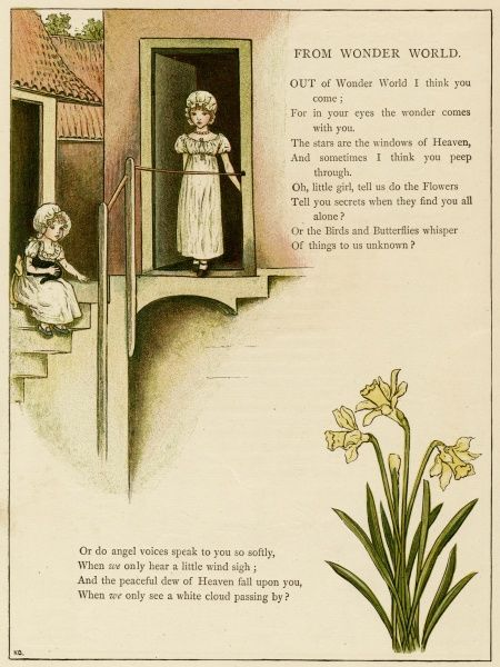 Illustration, From Wonder World, showing two little girls at a back door, with a bunch of daffodils below.  1885