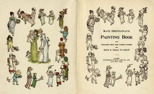 Frontispiece and title page designs, Kate Greenaway's Painting Book, with outlines from her various works for boys and girls to paint.  circa 1880s