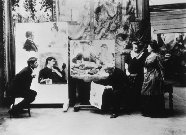 Russian artist, Ilya Yefimovich Repin (1844-1930), with writer, Korney Chukovsky (1882-1969) in the Artist's Studio. Date