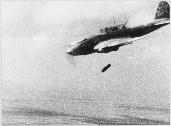 An Ilyushin IL-2 fighter- bomber dropping a bomb
