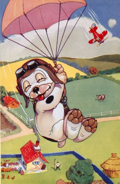 Colour illustration by George Ernest Studdy (1878-1948) showing his canine creation, Bonzo, parachuting through the sky