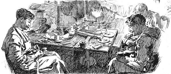 Engraving showing young male immigrants hard at work making shoes; stitching, sewing and hammering at a work table, London, 1904