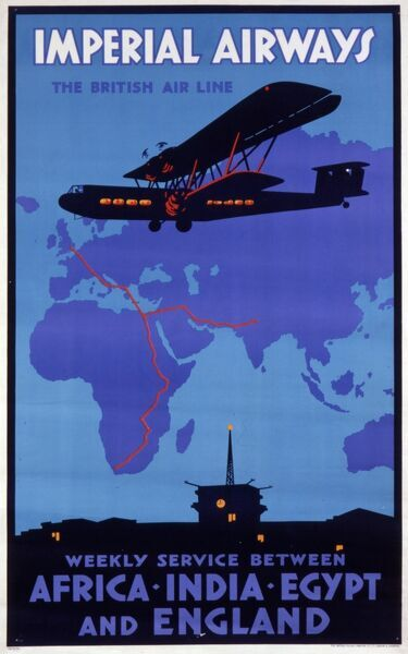 Advertising poster for Imperial Airways, The British Air Line : a weekly service between Africa, India, Egypt and England. A passenger biplane flies over a map of Europe, Africa and Asia