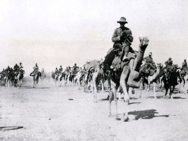 The Imperial Camel Corps Brigade outside Beersheba (Bir As-Saba) during the First World War. Date: November 1917