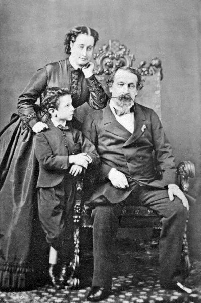 Photograph of the French Imperial family showing the Empress Eugenie, Louis, the Prine Imperial and the Emperor Napoleon III c. 1863. Date: c. 1863