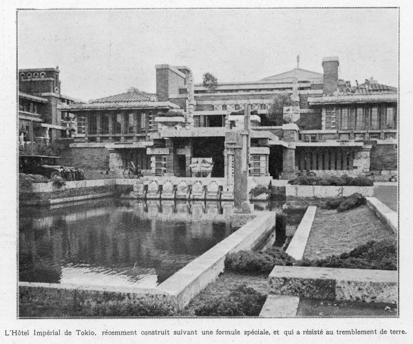 The Imperial Hotel, designed by American architect rank Lloyd Wright, is one of the few substantial buildings to survive the quake