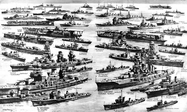 Illustration showing the British estimate of the strength of the Imperial Japanese Navy, during the Second World War, 1941. The ships illustrated range in size from battleships and aircraft-carriers to minesweepers