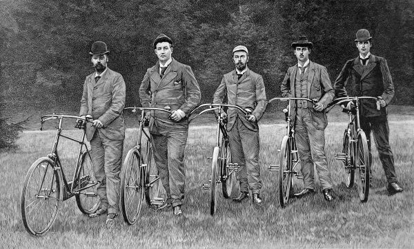 Engraving showing a Royal party of cyclists, beside their bicycles; from left to right: Prince Waldemar of Denmark, Prince George of Greece, The Czar of Russia, Prince Nicholas of Greece and Prince Charles of Denmark, 1894