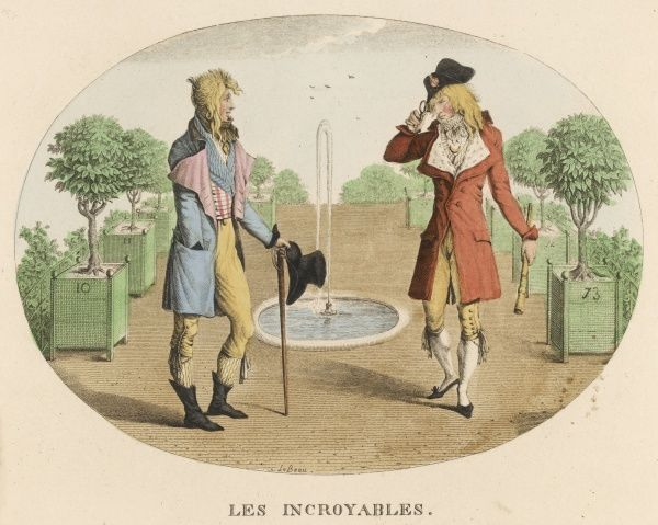 Two 'incroyables' (unbeliev- ables) - the male equivalent of the merveilleuses whose extreme fashions were a defiance of old aristocratic forms of elitist dress