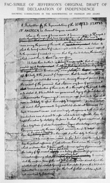 Jefferson's draft of the Declaration of Independence showing corrections in the handwriting of Franklin and Adams
