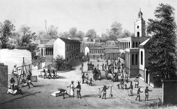 Bombay: busy street scene Date: circa 1840