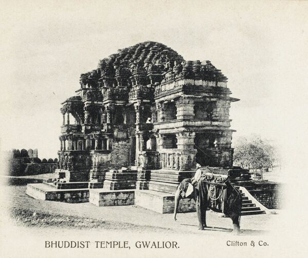 India - Buddhist Temple at the Fort of Gwalior, Madhyr Pradesh Province