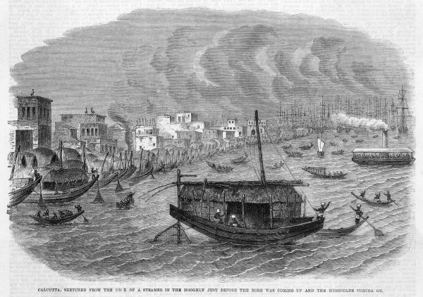 Sketched from the deck of a steamer on the Hugli (Hooghly) just before the Bore was coming up and the hurricane coming