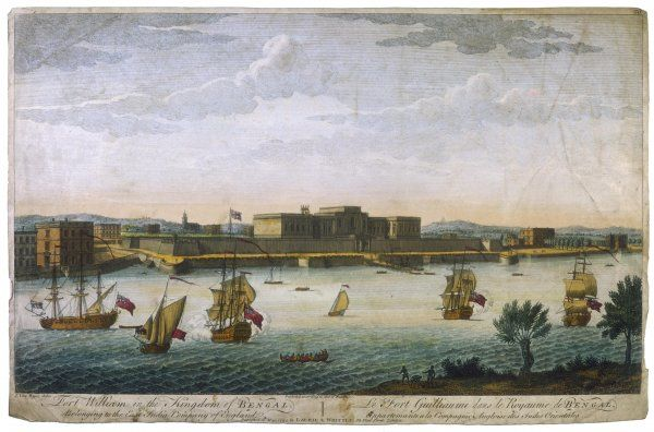 Calcutta: Fort William, with ships in the foreground