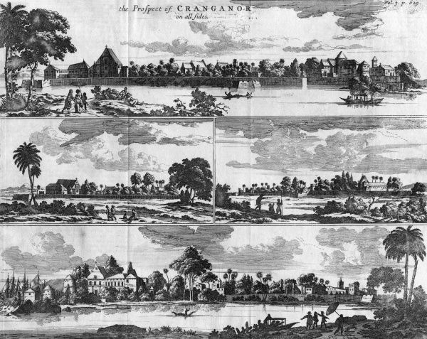 The town and harbour of Cowlang in southern India, where the Portuguese maintain a trading post or settlement. Date: 1671