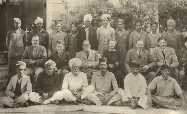 Group of British Foreign Office personnel in India and their house staff. Date: circa 1920s