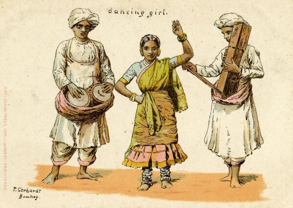 India - Indian Dancing Girl and two Musicians, one playing tabla drums and the other playing an unusual stringed instrument