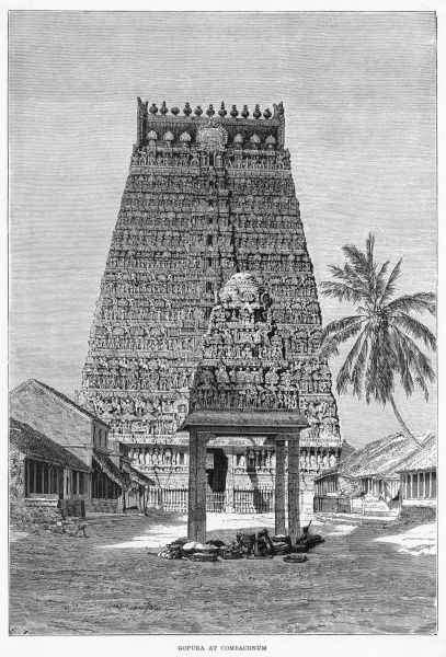 The Gopura at Combaconum (former spelling) a place of pilgrimage to which devout Brahmins come back annually
