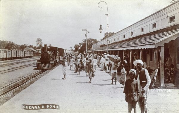 India - Railway Station at Mhow. Mhow is in the Indore District in Madhya Pradesh, India. Date: circa 1910s