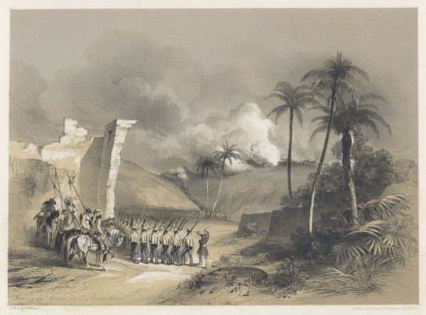 The storming of the Mundee Awa (the Great Mound) by British troops at Mooltan (Multan)