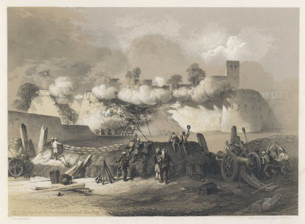 Bombay European Fusiliers storm the fort at Mooltan (Multan) at the Khoonee Boorj