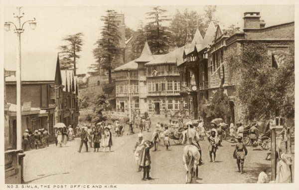 Simla: street scene outside the Post Office and Kirk
