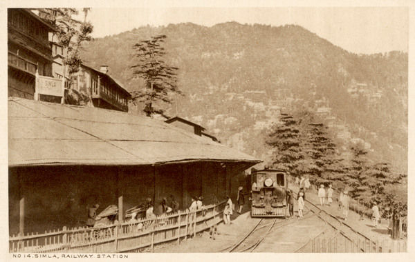 Simla: the railway station, with a train approaching