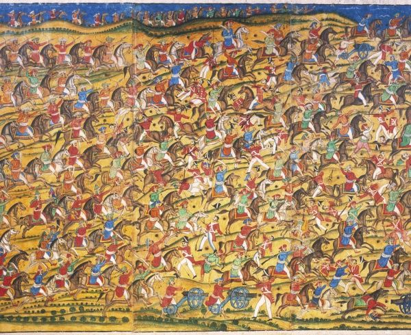The Indian cavalry charge against the weakened force of the East India Company at the Battle of Pollilur. British forces without reinforcements were surrounded and defeated