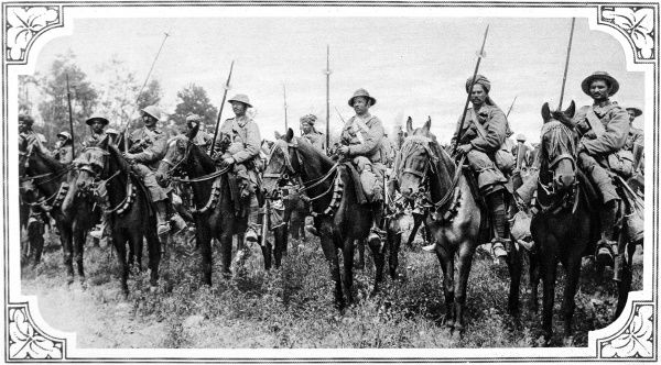 A line of Indian cavalrymen, armed with bamboo lances, are pictured preparing to charge German positions in the French woods of Foureaux