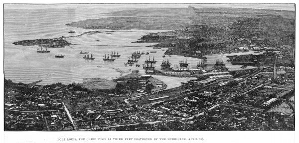 Bird's-eye view of the harbour of Port Louis before a third of the town was destroyed this year by a hurricane