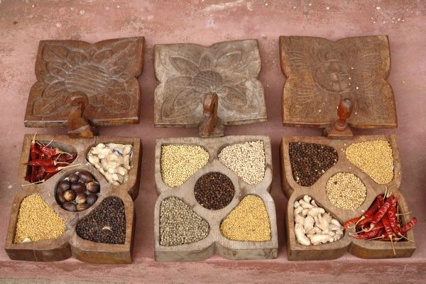 Indian spices on display in Mattancherry, Cochin, Kerala State, India. Each square container has five compartments for different spices