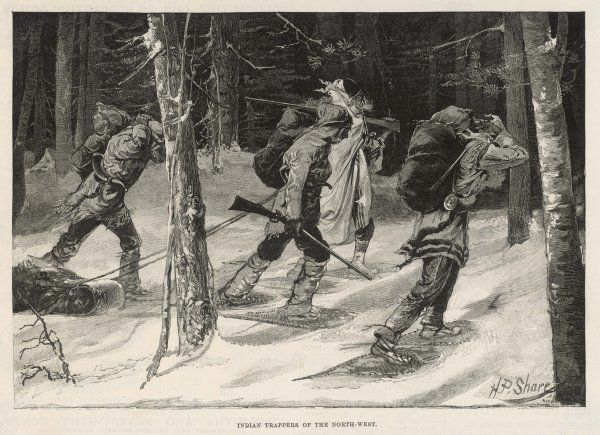Native Canadian trappers of the Northwest, trudging through a snowy forest