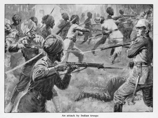 Indian troops in hand-to-hand engagement with German infantry during the Marne operations